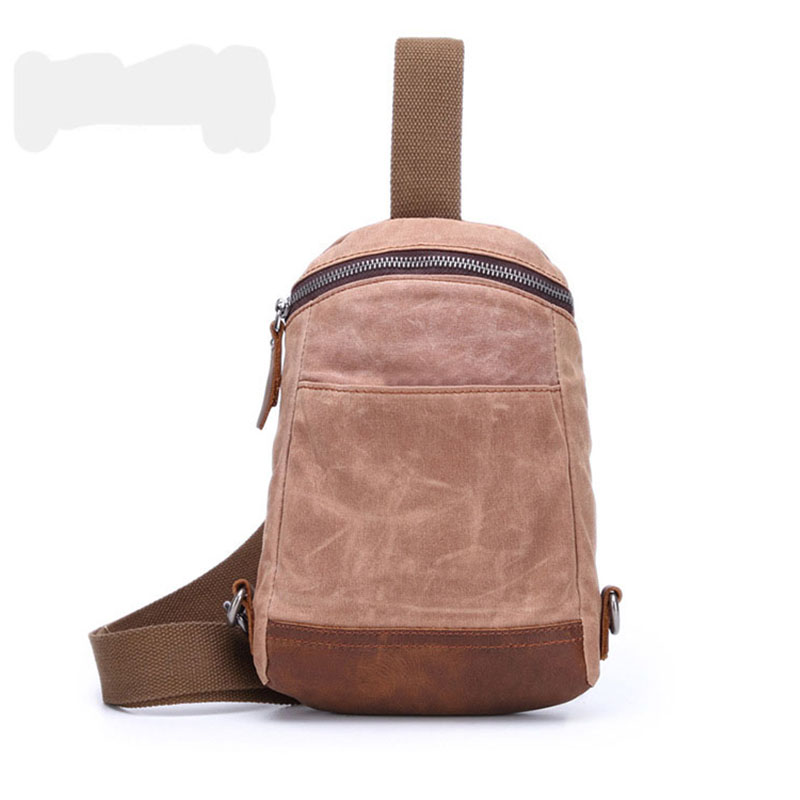 Fashion Canvas Crossbody Bags For Men Messenger Chest Bag Casual Shoulder Bags With Crazy Horse Leather High Quality Bags H058