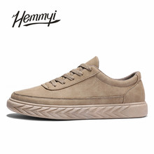 Hemmyi 2018 new male shoes solid lace up men's casual shoes black gray khaki chaussure homme footwear sneakers