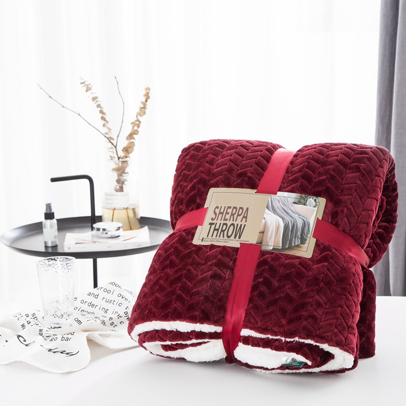 Drop Ship Wine Red Color Soft Throw Blanket on the sofa ...