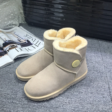 GXLLD New Arrival 100% Real Fur Classic Mujer Botas Waterproof Genuine Cowhide Leather Snow Boots Winter Shoes