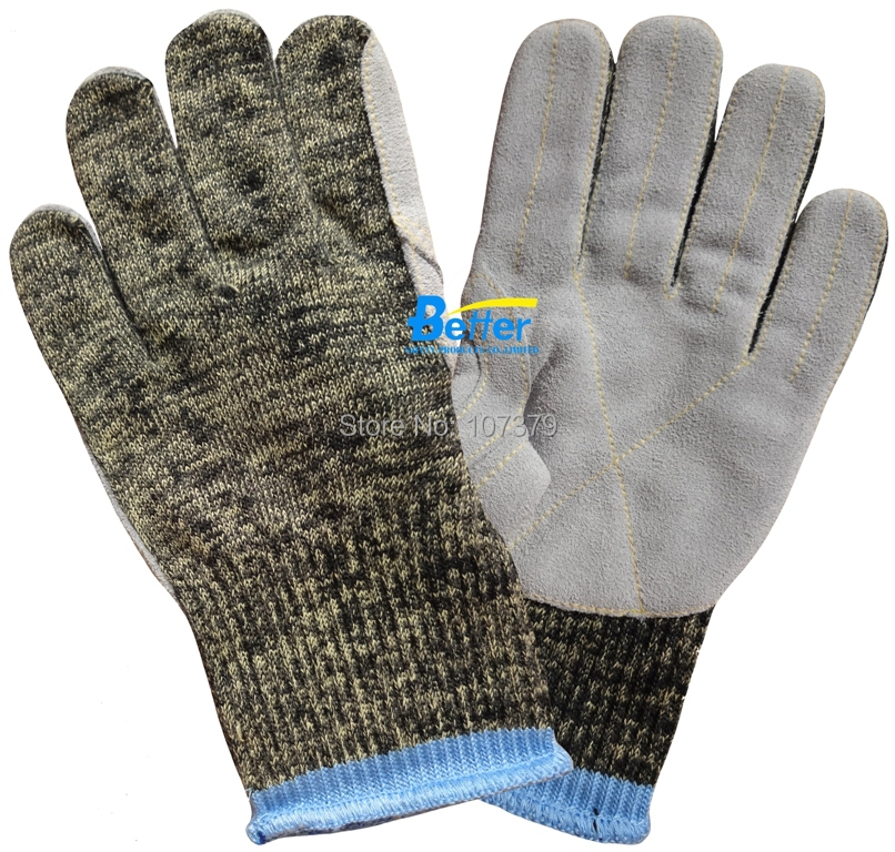 Leather Anti Cut Working Gloves Aramid Fiber Cut Resistant Work Glove anti cut safety glove hppe cut resistant work glove