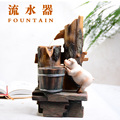 Free Shipping Office decoration miniascape art creative barrel resin fountain waterscape water decoration feng shui wheel