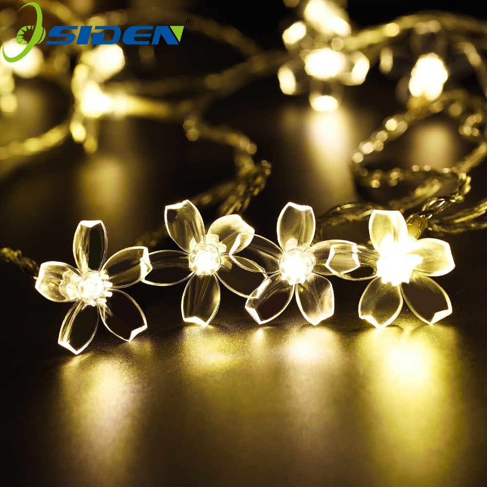 OSIDEN Blossom Flower LED Christmas Lights AA Battery Operated 2M 5M 10M Holiday Wedding Decoration String Fairy Lights Garland novelty cherry blossom 2m 20 led flower string light fairy lights led lamp with aa battery wedding party garland tree decoration