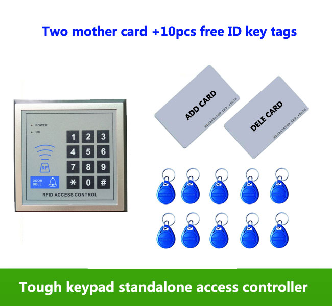 Free ship ,125KHZ standalone Door Access Control with keypad +two supper card for add or dele card , 10pcs ID key tags,min:5pcs proximity rfid 125khz em id card access control keypad standalone access controler 2pcs mother card 10pcs id tags min 5pcs