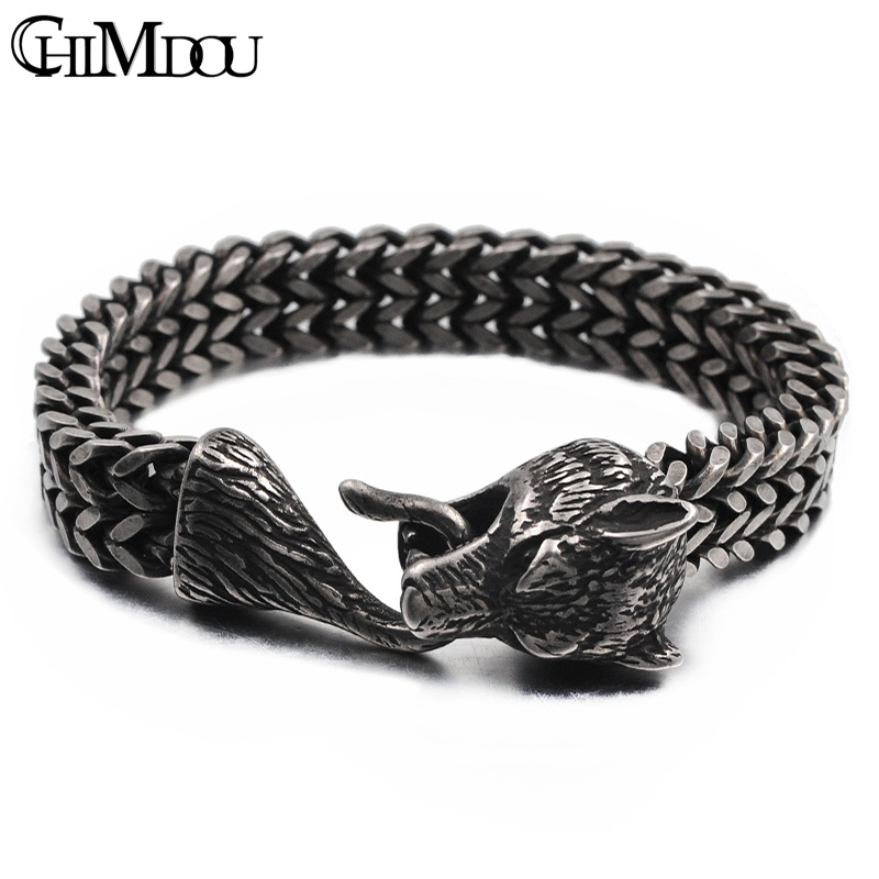 CHIMDOU Fashion Party Punk 316L Stainless Steel Mens Chain Link Bracelets Wolf Bracelets Wristband Jewelry wholesale Gift AB676 vanaxin mens bracelets chain brass cubic zirconia silver color male bracelets cuba chian wholesale vintage punk jewelry gift box