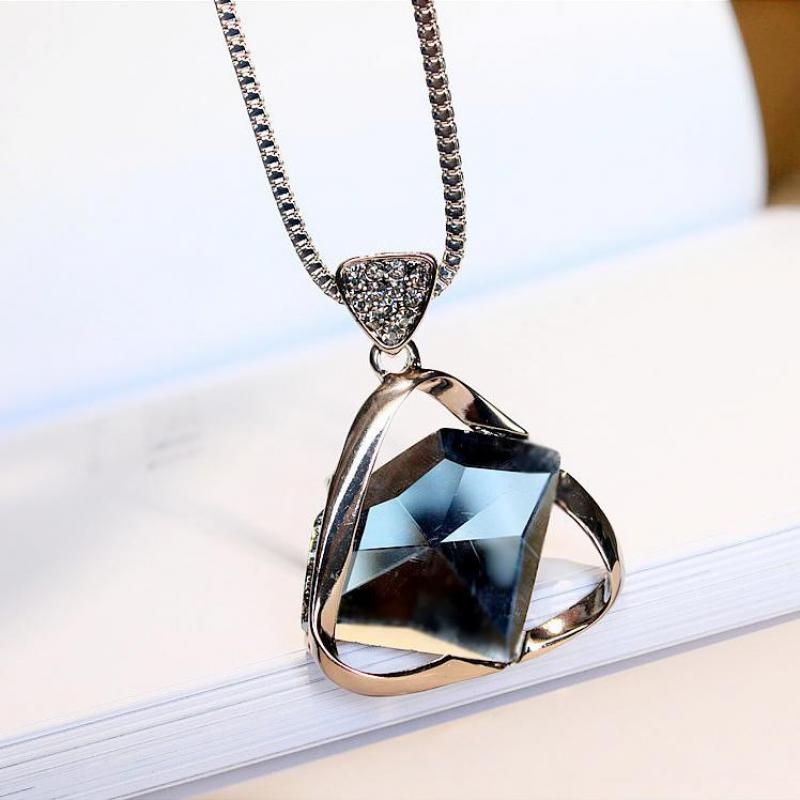 Simple Geometric Crystal Long Necklaces & Pendants For Women Fashion Jewelry Cute Gift
