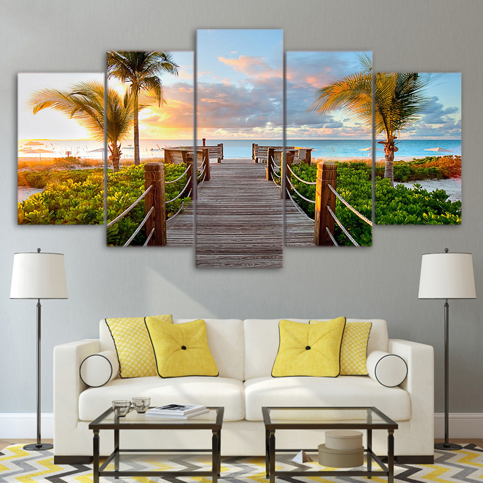 Modular Pictures Framework HD Print Modern Home Decor 5 Panel Coast Board Walk Palms Beach Living Room Wall Art Painting Canvas ...