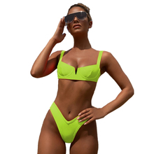 Women Ribbed Bikini Cheeky Bottom v Neck Swimwear Neon Scoop Crop Top High Cut Sexy Underwire Padded Brazilian Sporty Swimsuits v cut neck crop shell top