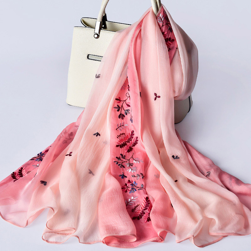 Femmes 100% Pure soie foulard à la main broderie châles et enveloppes pour dames imprimer Hangzhou soie Wrap naturel vraie soie foulards