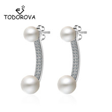 Todorova Korean Jewelry Cubic Zircon Front Back Double Sided Simulated Pearl Stud Earrings for Women Statement Ear