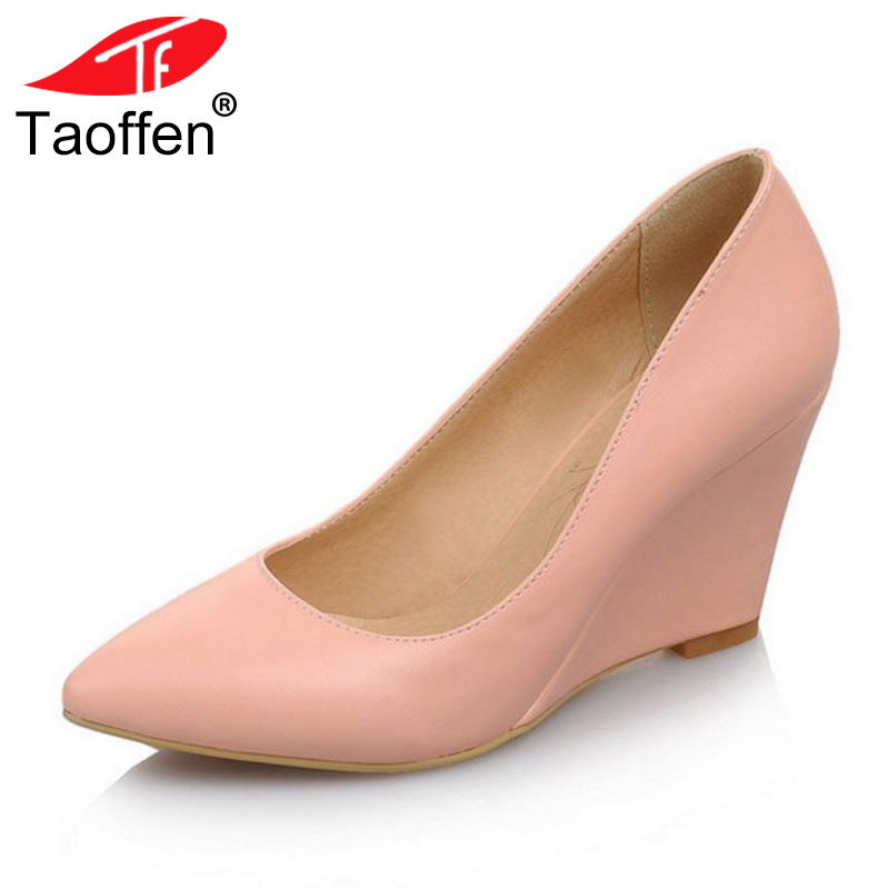 TAOFFEN women wedge high heel shoes wedding lady spring female pointed toe fashion heeled pumps heels shoes size 33-43 P16767 taoffen women stiletto high heel shoes pointed toe spring sweet footwear lady spring heeled pumps heels shoes size 34 47 p17515