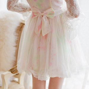 Image 4 - נסיכה מתוקה לוליטה שמלת ממתקי גשם סתיו חדש מתוק חלול החוצה הדפסת נסיכה ארוך שרוול תחרה שמלת C16CD6146