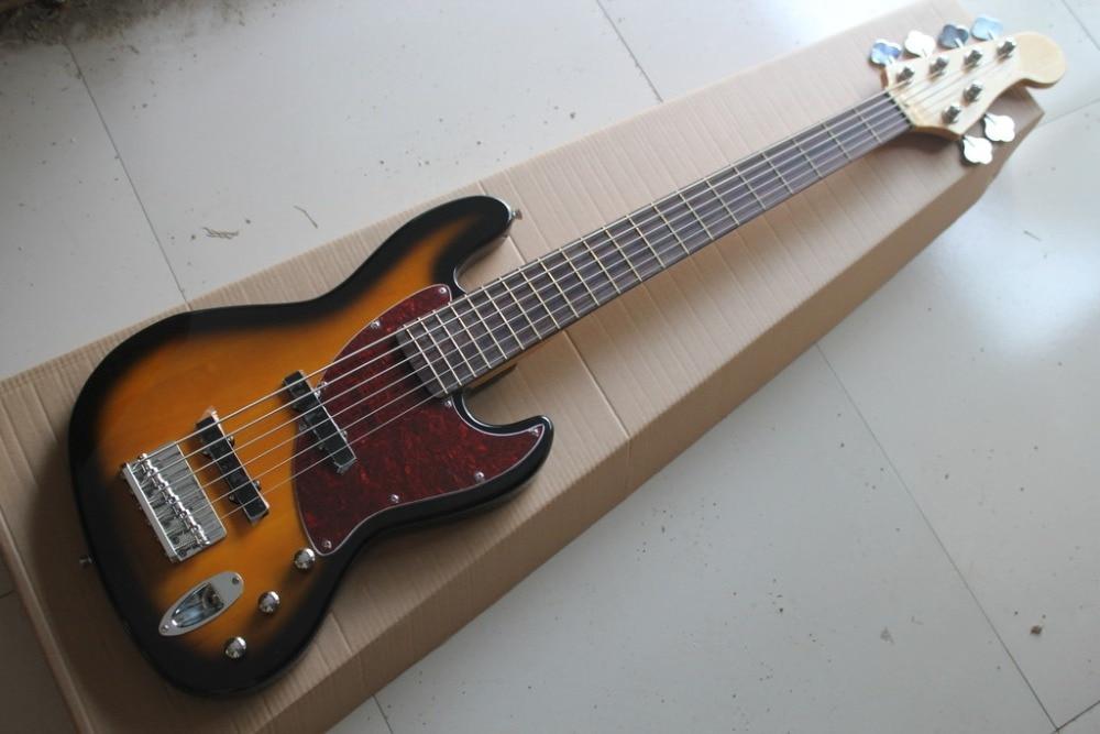 2018 new factory 6 strings jazz bass vintage sunburst 6 string jazz bass guitar free. Black Bedroom Furniture Sets. Home Design Ideas