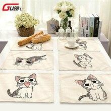 Хлопковый льняной коврик для стола милый кот мультяшный животный узор подстилки для детской кухни обеденные коврики