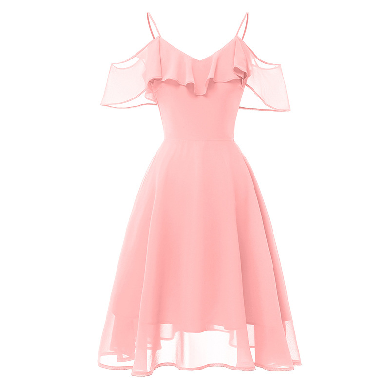 Summer Women Office Lady Dress Short Elegant Female A-Line Vintage Backless Midi