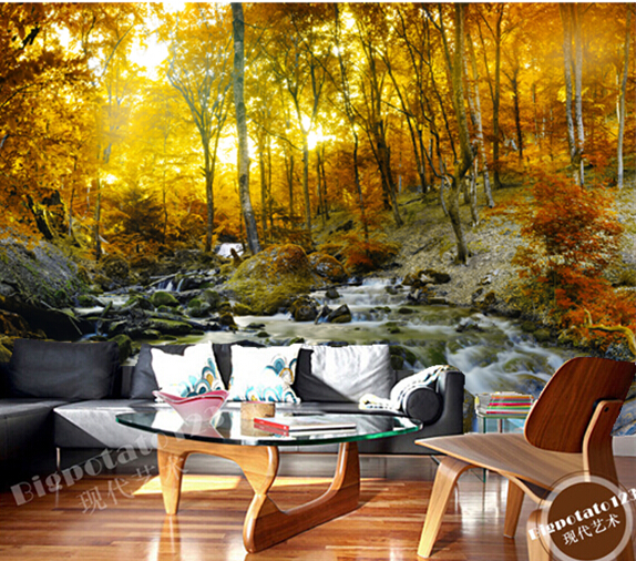 Custom photo Wallpapers , autumn sun forest landscape for the living room bedroom TV background wall waterproof papel de parede custom 3d photo wallpaper 3d stereoscopic green forest mural for living room bedroom tv backdrop waterproof papel de parede