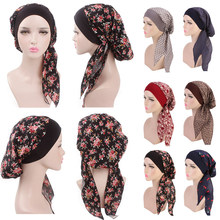 Women Head Scarf Muslim Hijab Hat Stretch Floral Chiffon Turban Chemo Caps Indian Head Wrap Hair Loss Headscarf 2019 New(China)