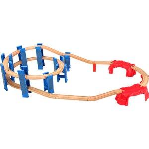 Image 1 - Vías de tren en espiral de plástico para niños, 26 Uds., accesorios de vía férrea de madera, pistas de puente con ajuste, Thoma Biro, Juguetes