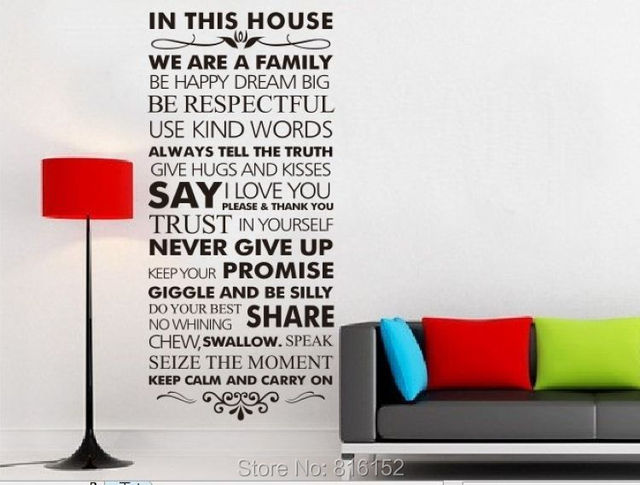 Wall quotes decal wall sticker this house house rules family inspirational decal vinyl sticker