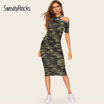 SweatyRocks Asymmetrical Shoulder Letter Tape Camo Dress Streetwear Women Casual Skinny Clothes 2019 Bodycon Pencil Midi Dress - DISCOUNT ITEM  45% OFF All Category