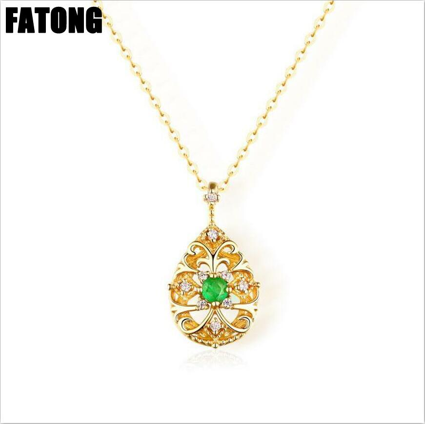 New 925 sterling silver ethnic style retro emerald water