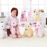 Wearing A Hat Tie Alpaca Plush Toy Cute Sheep Pillow Doll Super Soft Dolls Creative Presents