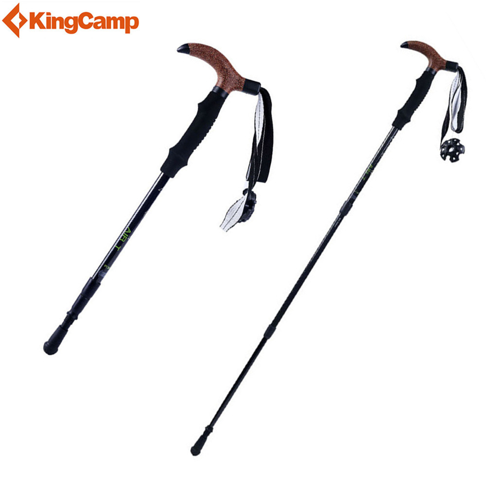 KingCamp Anti-Shock Walking Sticks Carbon Fiber Ultralight Telescopic Justerbare tre-delte Trekking Pole for Vandring Trekking