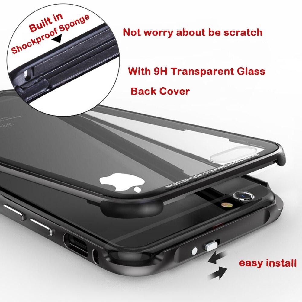 imágenes para Metal de aluminio Caso de Parachoques Para el iphone de Apple 6 Cubierta 6 S S volver Transparente Cubierta de Vidrio Templado Para Apple iPhone 6 S Plus Parachoques