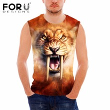 FORUDESIGNS Fashion Animal Saber-toothed Cat Tiger Print Stringer Tank Tops for Men Summer Bodybuilding Engineers Male Tanks Top