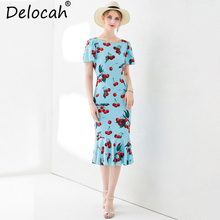 Delocah Women Summer Slim Midi Dress Runway Fashion Butterfly Sleeve Printed Collect Waist Sweet Casual Trumpet Mermaid Dresses