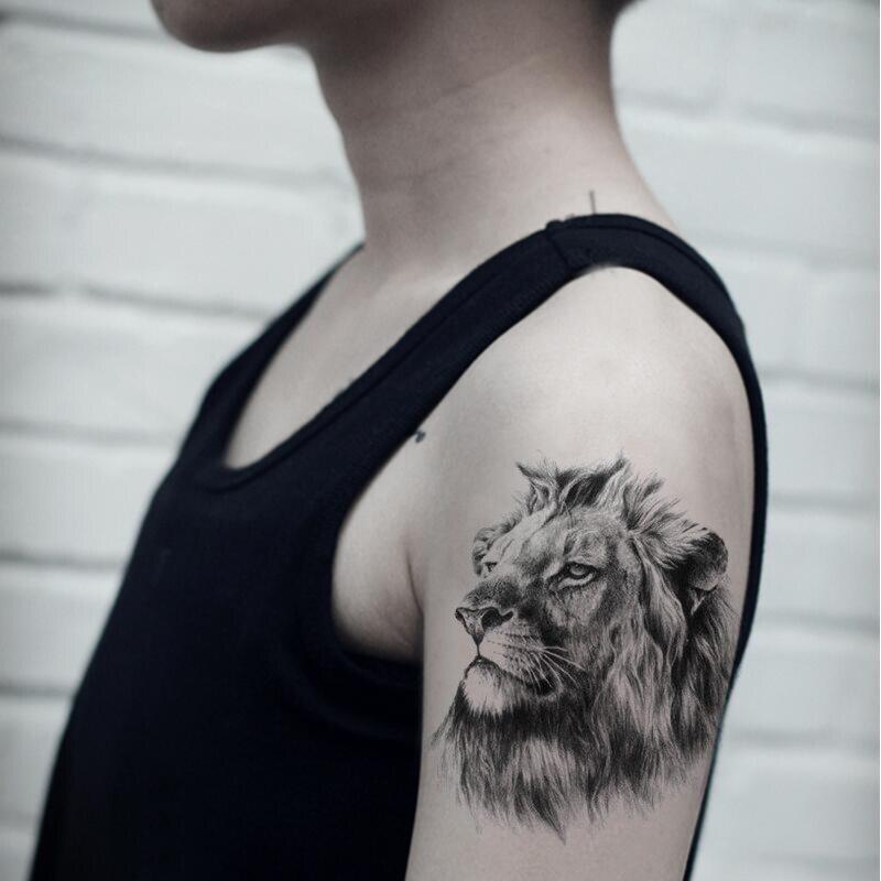À prova d' água Temporários Tatuagem Falsa Adesivos Cinza Leão Animais Grande Projeto Body Art Make Up Tools