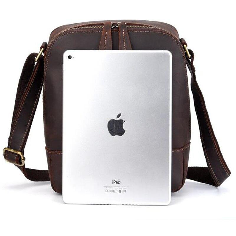 Для мужчин Винтаж Crazy Horse коровьей сумки через плечо мессенджер портфели бренд тренд вертикальный высокое качество Слинг Сумка - 6