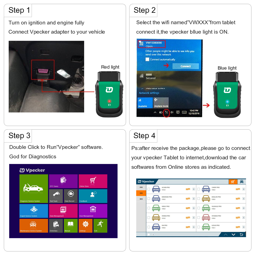 Image 5 - Vpecker Easydiag V11.2 OBD2 Wifi All OBD2 Scanner 8in Win10 Vpecker Tablet ODB2 Car Auto Diagnostic Scanner VPECKER EASY DIAG-in Engine Analyzer from Automobiles & Motorcycles