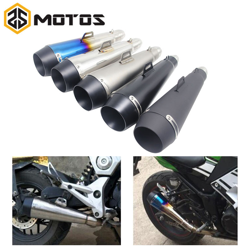 ZS MOTOS 51 MM Motorcycle Scooter Exhaust Pipe Moto Escape GP Pot Silencer For M4 For Most Motocross Dirt Bike Cross ATV Slip on modified akrapovic exhaust escape moto silencer 100cc 125cc 150cc gy6 scooter motorcycle cbr jog rsz dirt pit bike accessories
