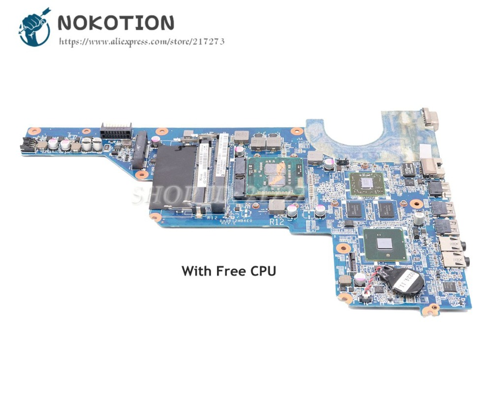 NOKOTION 636372-001 For HP Pavilion G4T-1000 G7 G7T-1000 G4 G4-1000 Laptop Motherboard DA0R12MB6E0 HM55 HD6470M 1GB Free CPU