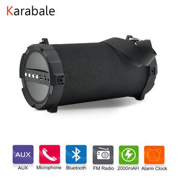 Karabale Portable Outdoor Bluetooth Speaker Alarm Clock HIFI Soothing Sound Wireless Subwoofer Bike Car Speakers FM Radio Mic subwoofer