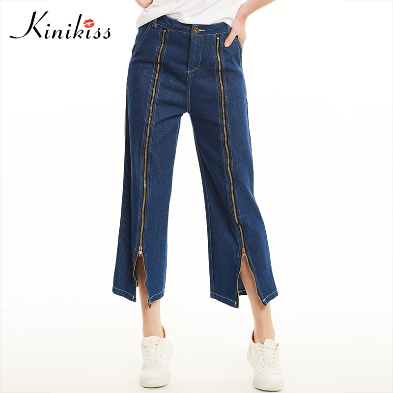 Kinikiss 2017 new spring jeans pants women blue loose zippers t jeans wide legs female fashion elegant summer jeans denim pants new spring autumn jeans pants vintage fashion patchwork women wide leg denim casual loose female blue jeans pants