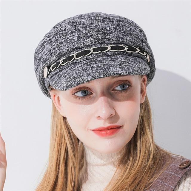 Xthree  women winter hat cotton octagonal hat with visor chain fashion newsboys hat girl autumn hat for women