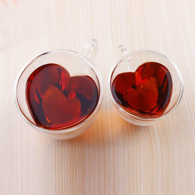 Heart Shaped Double Wall Clear Glass Tea Cup