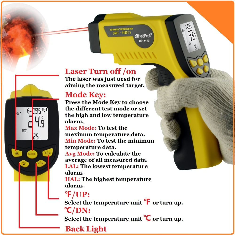 Infrared Thermometer Non Contact Digital Thermometer Gun with Laser -50--1120'C / -58'F--2048'F original xiaomi mijia ihealth thermometer accurate digital fever infrared clinical thermometer non contact measurement led shown