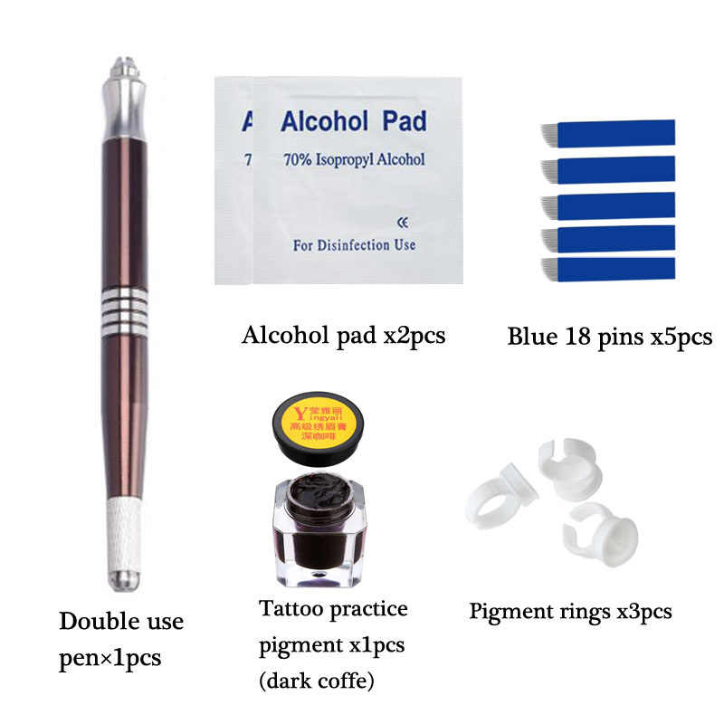Permanent Makeup Microblading Practice Kit Ögonbryn Tattoo Practice Kit Microblading Ögonbryn Tattoo Pigment Ring Manuell Penna