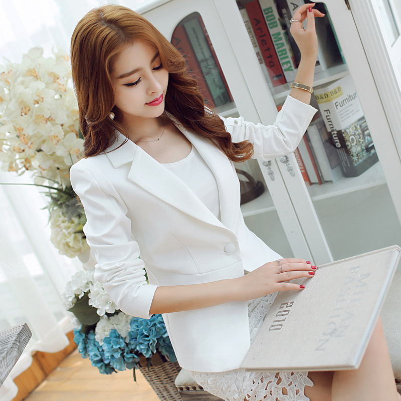 2019 Fashion 2019 Spring V Neck Stylish Women Blazers Blue Korean Slim Fit Female Blazer Women Office Work Suit Jackets White Blue Plus Size Professional Design Suits & Sets