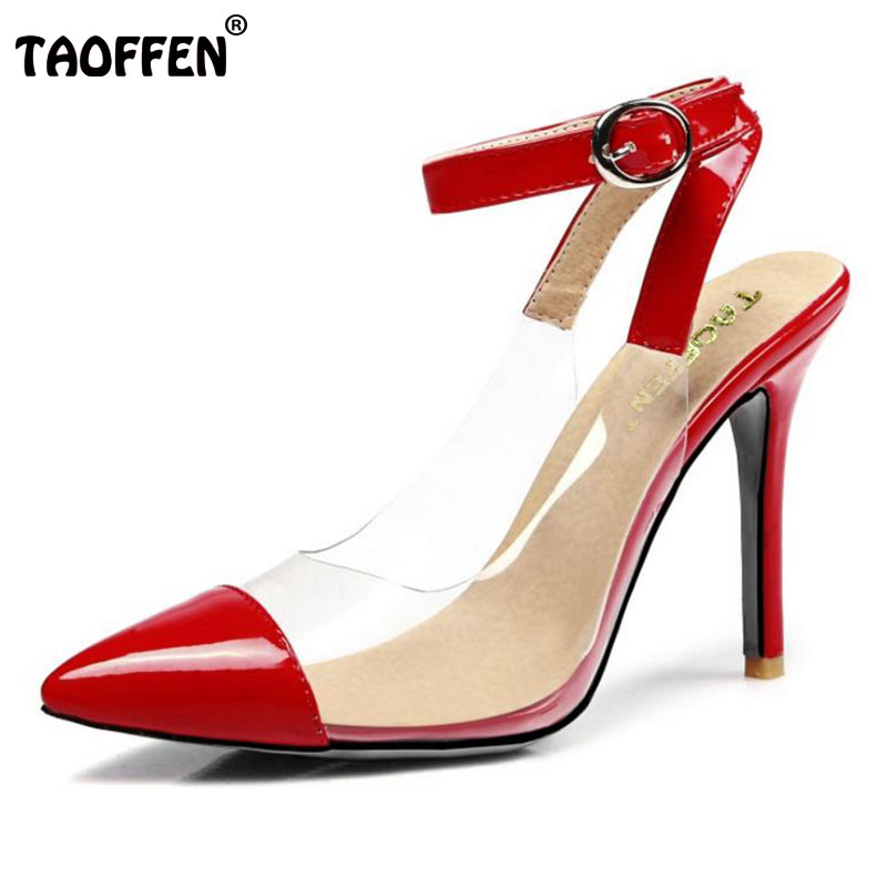TAOFFEN Women High Heel Shoes Woman Sexy Transparent Heels Sandals Ladies Ankle Strap Party Wedding Shoes Footwear Size 31-47 taoffen women high heel shoes woman sexy transparent heels sandals ladies ankle strap party wedding shoes footwear size 31 47