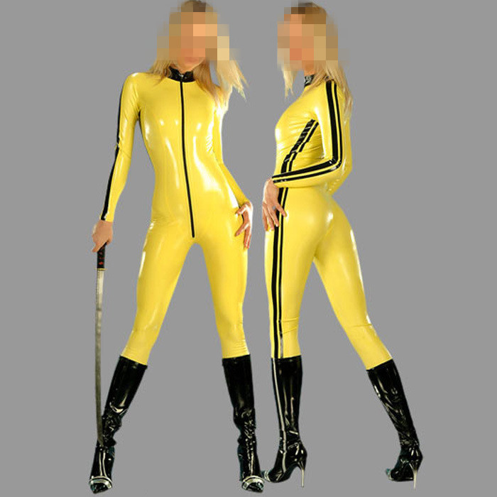 Sexy Lady Rubber Yellow with Black Strips Latex Catsuits with Front Zip not include the socks