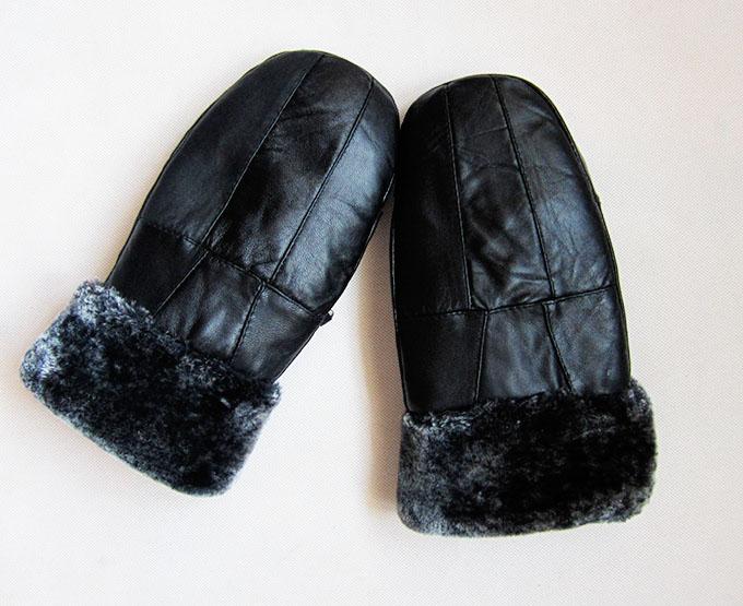Woman autumn sheepskin plus velvet thicken gloves female winter solid warm glove lady thick leather Points finger mitten