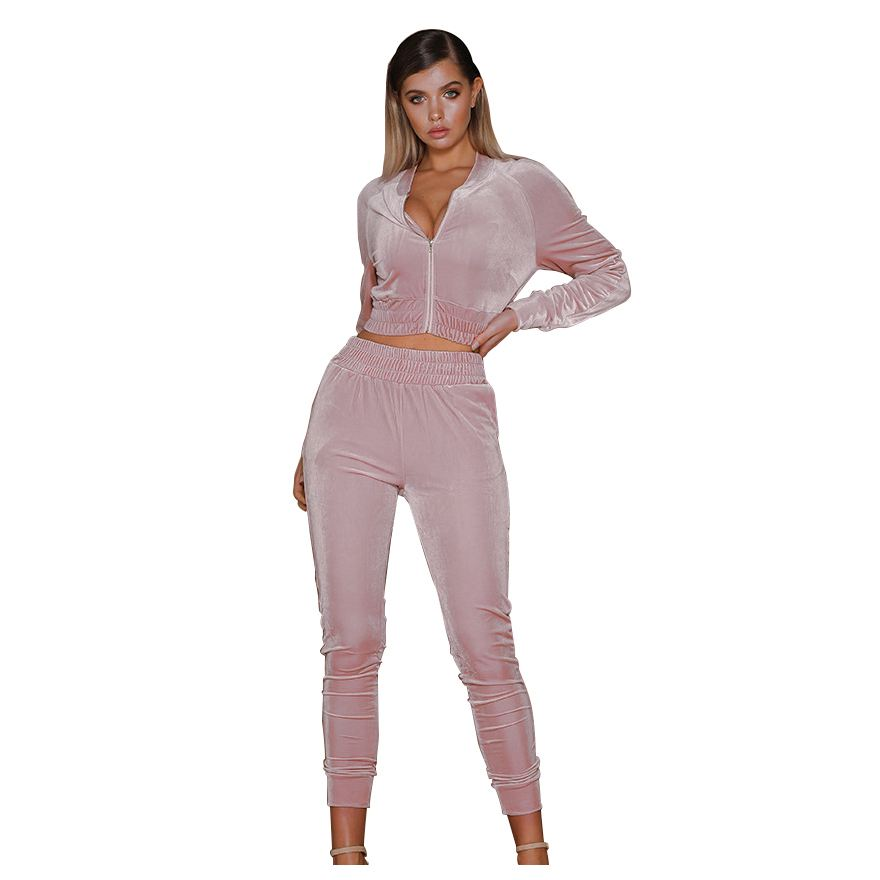 Women Autumn Spring Sexy Velvet Sets Casual Tracksuit Women O Neck Sporting Suit Velvet Two Pieces Sets Women Sportswear