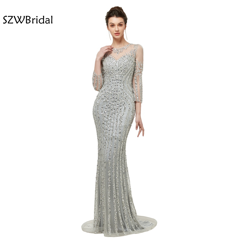 New Arrival Long sleeve   Evening     dress   2019 Full hand beading Mermaid   Evening   gowns Sexy formal   dress   elegant robe soiree
