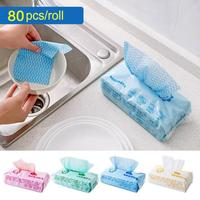 80Pcs Kitchen Disposable Non Woven Fabrics Washing Cleaning Cloth Towels Striped Eco Friendly Practical Rags Wiping