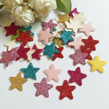 100pcs Colored Glitter Star  patches for craft decoration 23mm padded floral felt Craft supplies DIY Decoration