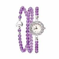 Granos cristalinos de la Pulsera Relojes de Las Mujeres Dulce Flor Romántica Bisel Relojes Número Romano Hora Marca Wrap Around Reloj de Cuarzo